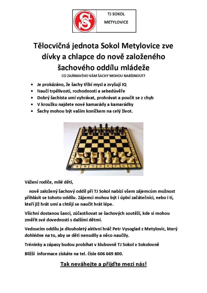 Pozvánka do šachového oddílu mládeže při TJ Sokol.